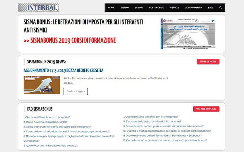 Progetto sito Sismabonus Interbau