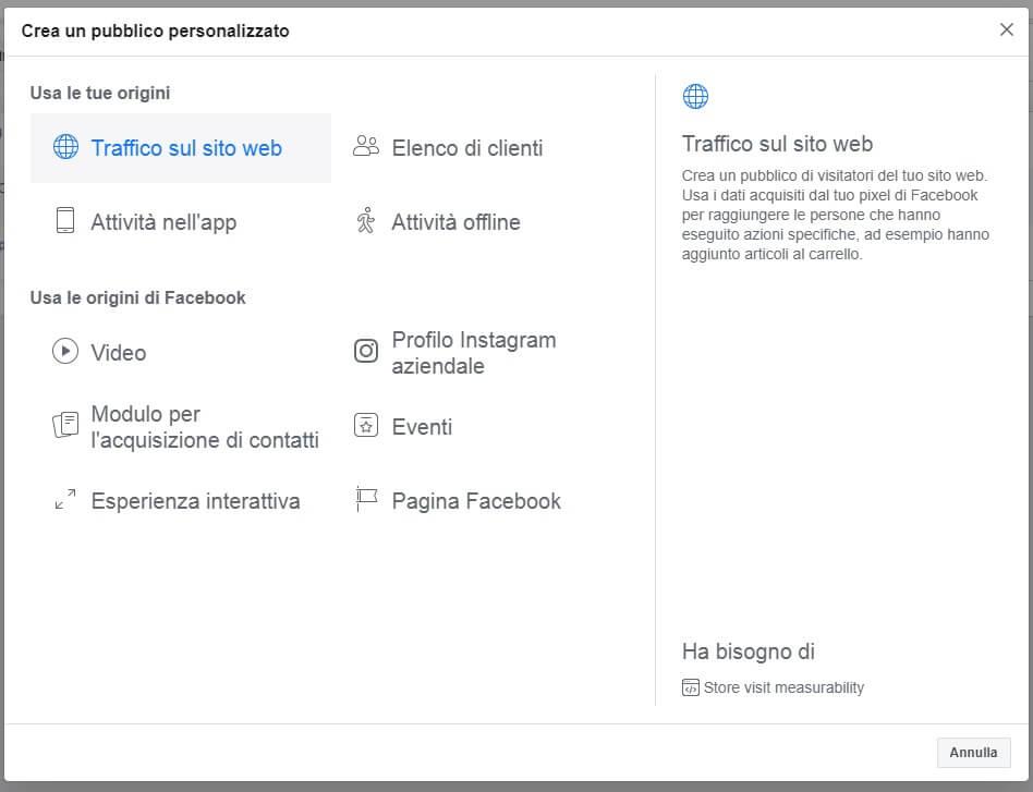 origini di dati per pubblico personalizzato Facebook