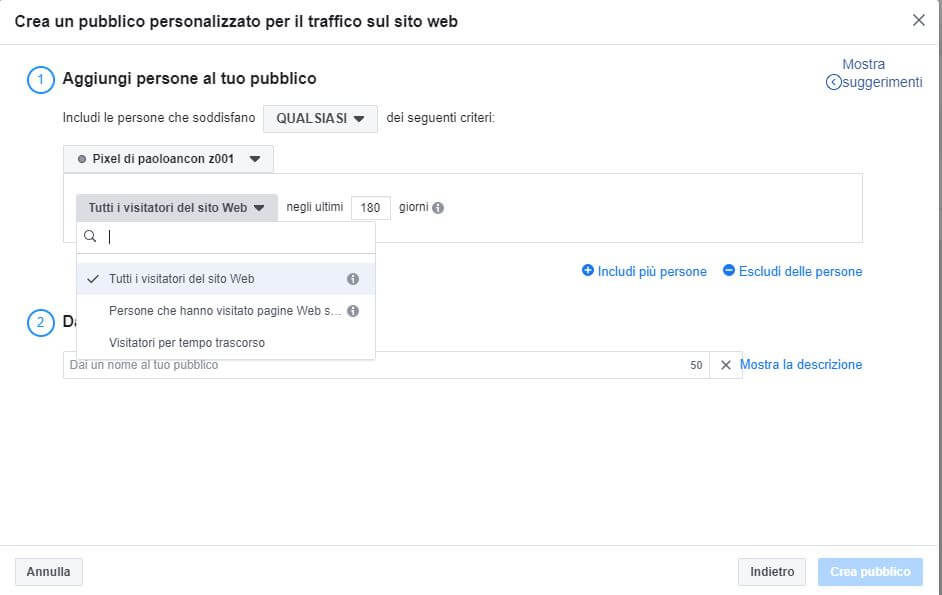 pubblico personalizzato per il traffico sul sito web